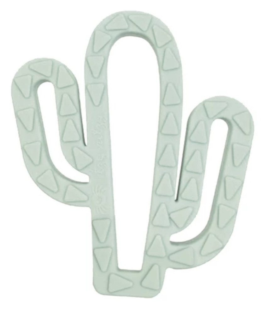 Cactus silicone baby teether. Cute Baby Teething Toys | Stylish baby toys featured on Babies, Love, & Lattes a motherhood and lifestyle blog by popular North Carolina blogger, Jessica Linn.
