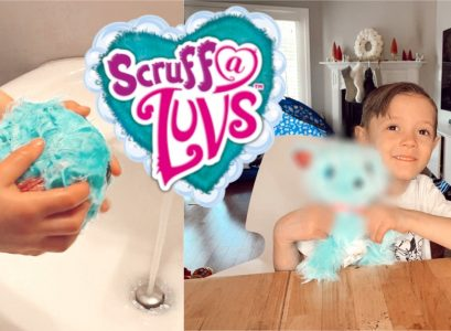 Scruff-A-Luvs Review | Scruff-A-Luvs come as an unidentifiable, matted ball of fur. Kids have to bathe them, dry them, and brush them out to find out what adorable animal they are. I love that it teaches kids to take care of animals. Demo by Babies, Love, & Lattes a motherhood and lifestyle blog by popular North Carolina blogger Jessica Linn.