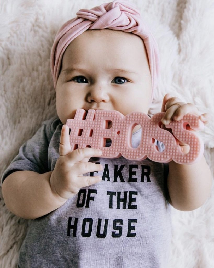 #BOSS Silicone baby teether. Cute Baby Teething Toys | Stylish baby toys featured on Babies, Love, & Lattes a motherhood and lifestyle blog by popular North Carolina blogger, Jessica Linn.