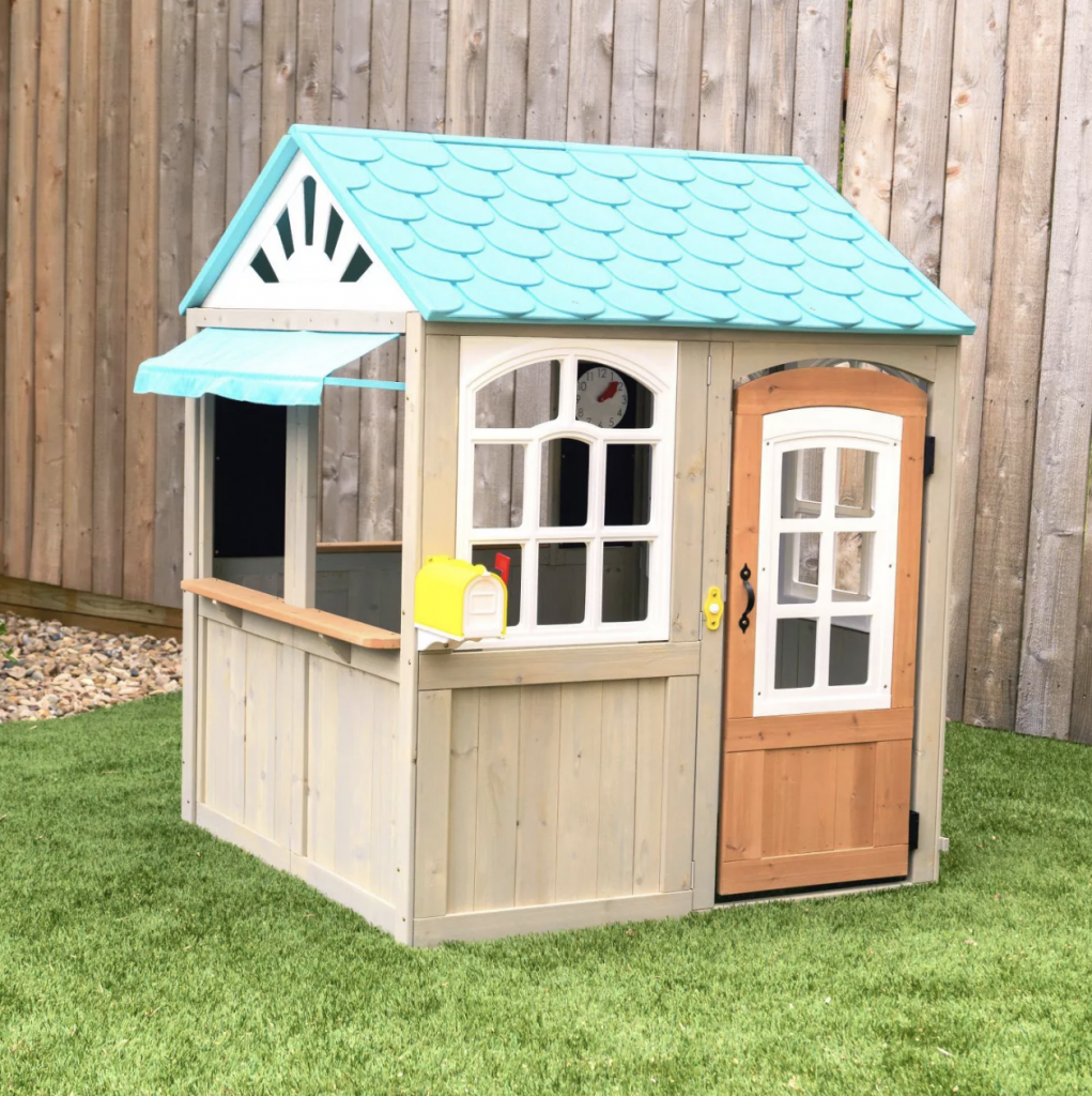 Cute Outdoor Playhouses Kids Will Love Backyard Discovery Timberlake Wooden Playhouse by Babies Love and Lattes