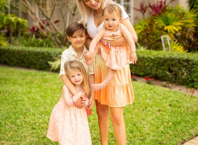What My Kids Wore In Jupiter Florida In April | Babies Love and Lattes by Jessica Linn girls and baby orange floral print cat and jack dress