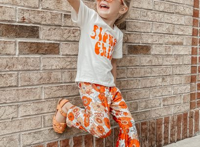 Catalina's OOTD Tuesday | Flower Child Tee & Retro Bell Bottoms by Babies Love and Lattes
